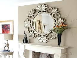 round mirror decorating ideas living frame wall white vintage clay fireplace with antique wooden