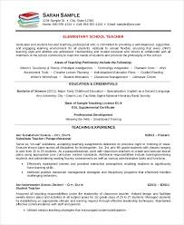 Elementary School Teacher Resume Template Resumes Templates All