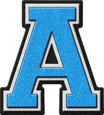 Blue Letters Presentation Alphabets Light Blue Varsity Letter A