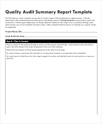 Audit Summary Template Quality Audit Report Templates Google