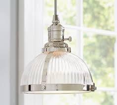 beautiful glass kitchen pendant lights pb classic pendant ribbed glass pottery barn