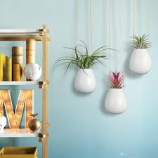 pack of 3 oval small pots 2 5 white ceramic planters holders for air plants wall hanging vase for indoor plants flowers ceramic ornaments gold vase gold