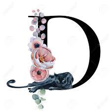 The Letter D Design Floral Watercolor Alphabet Monogram Initial Letter D Design