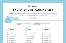 Cruise Packing List Family Cruise Packing List Ezpacking Inc