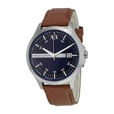 armani exchange navy dial brown leather strap men s watch ax2133