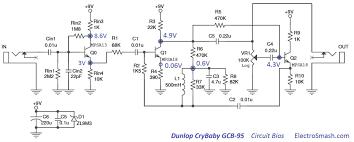 dunlop crybaby gcb circuit analysis dunlop cry baby wah gcb 95 bias
