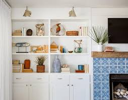 white and blue cement fireplace tiles