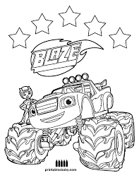 Blaze And The Monster Machines Parker Is 3 Coloring Pages For