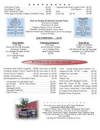 specials menu menu dinner specials the cooperstown diner