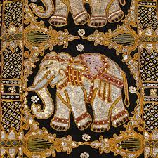 elephant embroidery wall decor vintage