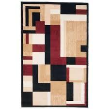 modern block black 4 ft x 6 ft area rug