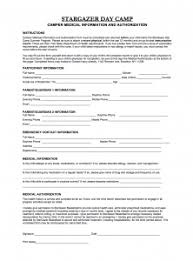Stargazer Medical And Health Forms - Stargazer Day Camp