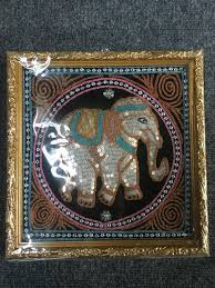 framed sequin embroidered elephant wall