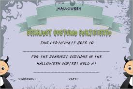 Costume Contest Certificate Template Halloween Costume Certificates Sinma Carpentersdaughter Co