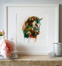 horse head watercolor painting colorful animal art wall art horse