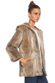 image 4 of a p c burnou fur jacket in beige