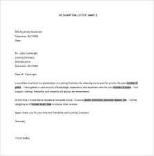 Letter Of Resignation Templates Word Letter Of Resignation Template Examples Of Resignation Letters