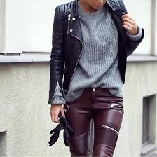 burdy leather pants oxblood jacket zippers faux biker trousers with zara