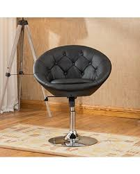 round accent chair. Roundhill Furniture Naos Contemporary Round Tufted Back Tilt Swivel Accent Chair, Black Chair
