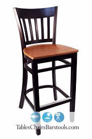 gladiator walnut vertical back wooden bar stool with wooden cherry seat
