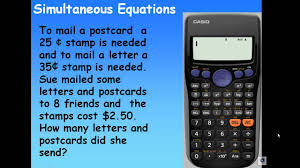 simultaneous equations with casio fx95sg