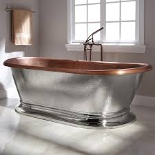 kelsey copper pedestal tub  nickel exterior  bathroom