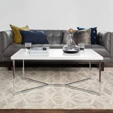 Chrome/clear large rectangle glass coffee table with pedestal base. Chrome Coffee Tables Accent Tables The Home Depot