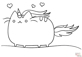 Pusheen Cat Coloring Pages Now Unicorn Printable Kawaii Page Free