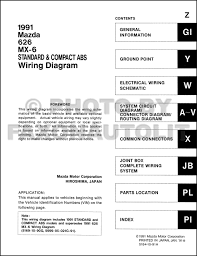 late 1991 mazda 626 and mx 6 wiring diagram manual original 1998 Mazda 626 Wiring-Diagram at 1991 Mazda 626 Wiring Diagram
