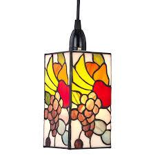 designer fruit themed multi colour tiffany easy fit rectangular pendant shade