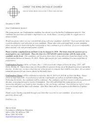 Catholic Confirmation Recommendation Letter Under