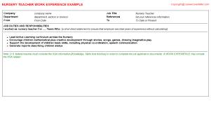 teacher job titlenursery teacher cv work experience