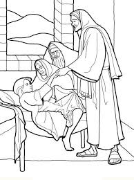 A family at the temple. Sick Girl Who Healed By Miracles Of Jesus Coloring Page Jesus Coloring Pages Miracles Of Jesus Christian Coloring