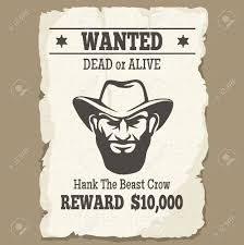 Wanted Dead Or Alive Poster Vintage Western Wanted Poster With