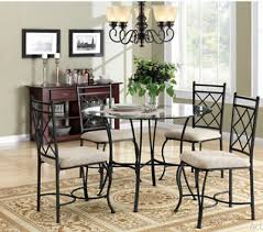 glass top dining tables round table and chairs for 4 5 piece metal kitchen
