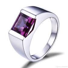 2019 whole solire fashion jewelry 925 sterling silver princess square amethyst cz diamond gemstones wedding men band ring gift size 8 12 from