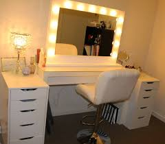 White Vanity Table With Lighted Mirror Furniture Impressive Lighted Mirror Vanity For Dresser