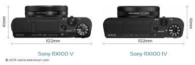 sony rx100 v. sony rx100 v vs iv camera size comparison - top view rx100