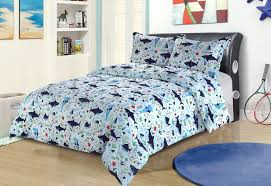 beatrice shark zone 2 piece twin size ocean sea life bedding comforter bed set in blue