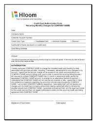 Recurring Payment Authorization Form Credit Card Authorization Forms Hloom Com