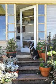 cottage style front doorsdoggy steps in Entry Rustic with Exterior Front Door Columns next