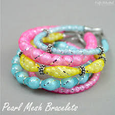 how to pearl diy mesh bracelets