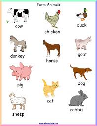 Coloring Free Printable Farm Animals Chart