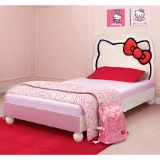 kids bedroom for girls hello kitty. Girls Child Bedroom Decor With Hello Kitty Twin Bed, Silhouette Fully Upholstered Headboard Kids For