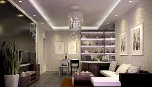 Lavender Living Room Interior Decoration Wallpaper Night Rendering Interior Design