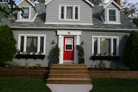 exterior paint schemes red door. great color scheme for the renovation: sherwin williams: sw 7066 grey matters. red door is martha stewart: lady bug. white surround benjamin moore: exterior paint schemes o