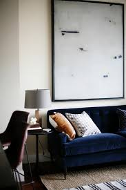 blue couches living rooms minimalist. Navy Blue Velvet Sofa \u0026 Minimalist Art Couches Living Rooms