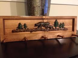 Cabin Coat Rack Bear Log and Tree Decorative Coat Rack Cabin Decor Mountain Lake 68