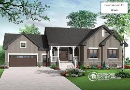 Color version 5 front 6 bedrooms transitional style bungalow house plan 2 family rooms