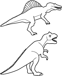 Small Picture Spinosaurus and T Rex Coloring Page Birthday